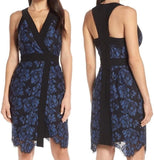 harlyn Black and Blue Lace Cocktail Wrap Dress, Small, Black/Blue