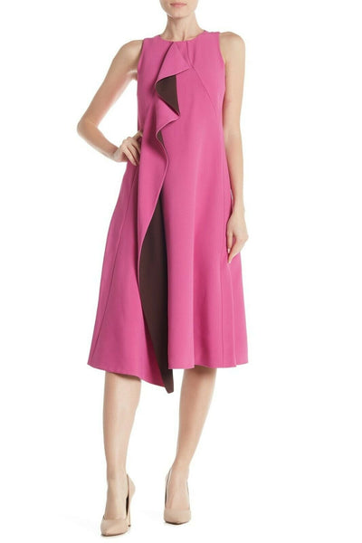 HUGO BOSS Dianea Cascading Ruffle Dress Fitted Stretchy Midi, Pink - Size 0