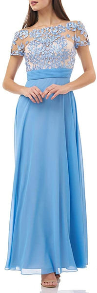 JS Collections Women's Embroidered Illusion Bodice Gown, Size 4p - Blue