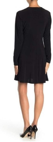 TASH + SOPHIE Fit & Flare Full Sleeve Dress - Size Medium, Black