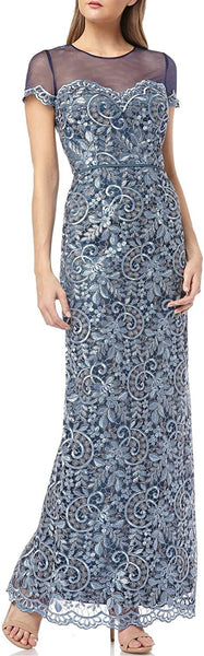 JS Collections Women's Illusion Yoke Scroll Embroidery Gown - Size 14, Blue