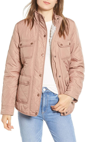 Thread & Supply Women's Fleece Lined Quilted Utility Jacket, Size Medium - Pink