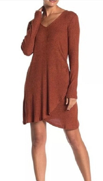 GOOD LUCK GEM Women's Side Wrap Solid Knit Dress - Size X-Small, Orange