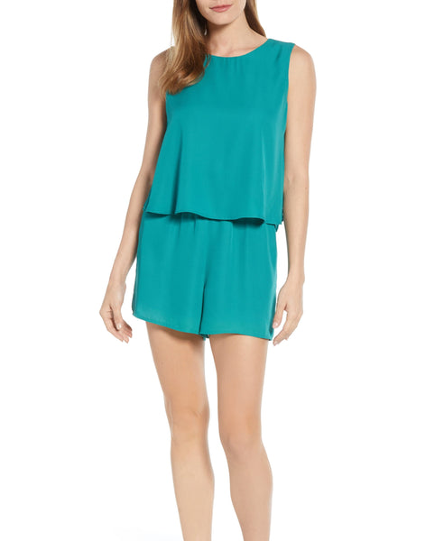 Gibson Women Sleeveless Layered Romper | Size - Small | Color - Ivy