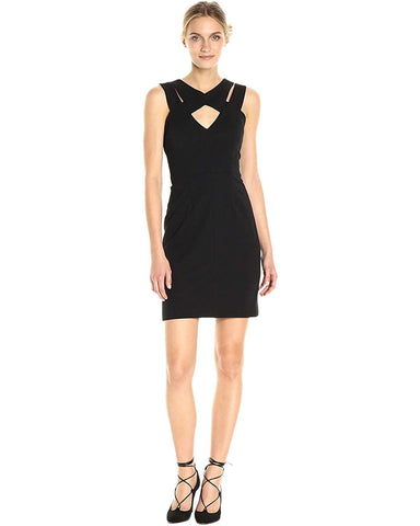 Betsey Johnson Women's Scuba Crepe Sheath with Cutout Neck