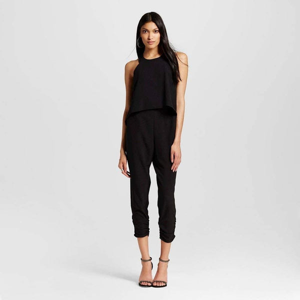 Necessary Objects Design Lab Split Back Jumpsuit-Black-Medium