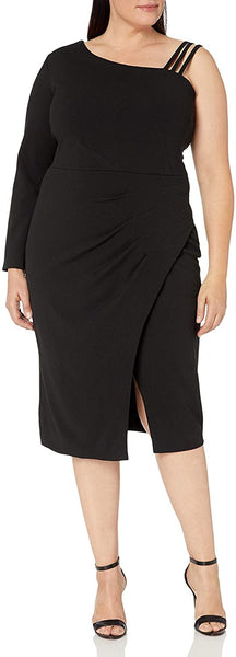 RACHEL Rachel Roy Women's Plus Size Asymmetrical Side Ruched Midi
