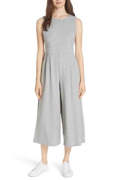 Eileen Fisher Petite Moon Wide Leg Cropped Cotton Knit Jumpsuit, Medium, Grey