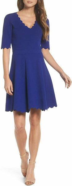 Eliza J Women's Scallop Trim Fit & Flare Dress, Size Medium - Blue
