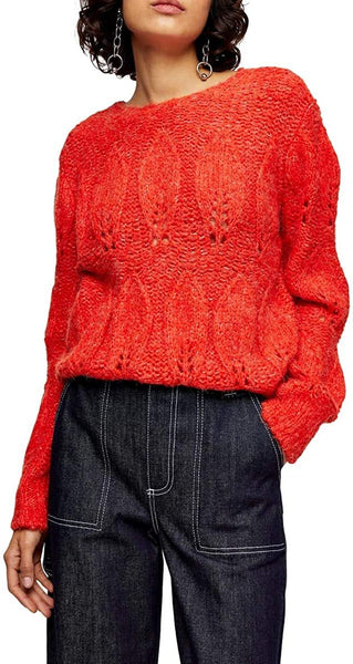 Topshop Women's Petal Pointelle Sweater | Size - Small | Color - Red