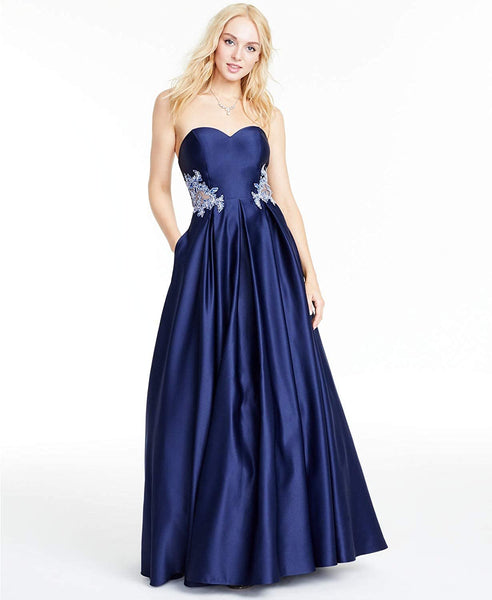 Blondie Nites Women's Strapless Appliqué Gown - Size - 9 - Color - Navy/Silver