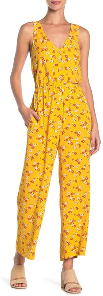Mimi Chica Button Down Floral Jumpsuit - Size X-Large, Golden Yellow