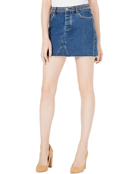Kendall + Kylie Cotton Studded Denim Skirt