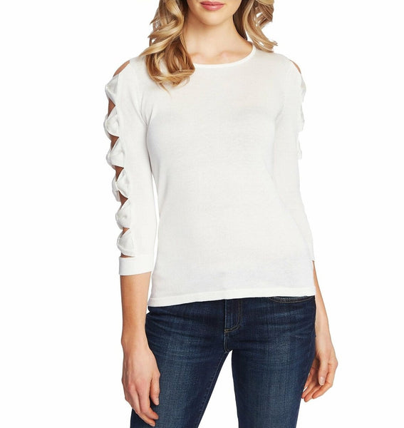 Cece Women Bow Sleeve Crewneck Sweater | Size - Large | White