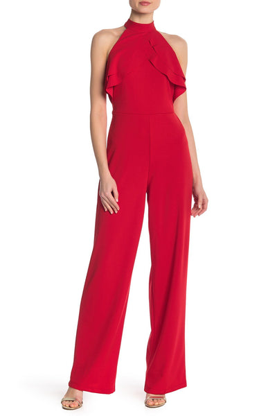 bebe Women's Ruffle Halter Jumpsuit - Size 6, Red