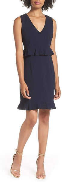 Charles Henry Women's Double Ruffle Sheath Dress - Size X-Large | Blue
