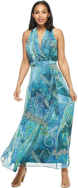 London Times Womens's Petite Amina Maxi 12P Blue Multi