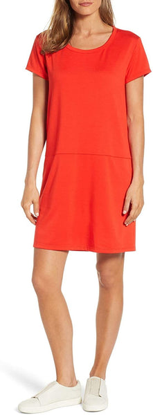 Caslon Women's Knit Side-Seam Pockets Shift Dress - Size Small, Red