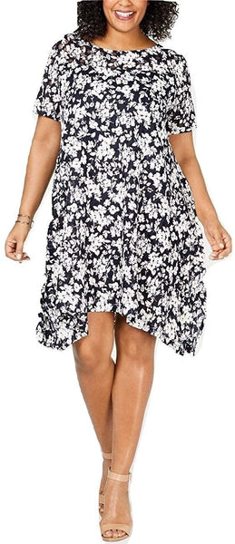 ROBBIE BEE Women's Plus Size Floral Printed Mesh Handkerchief-Hem Dress Navy/Ivory 1X