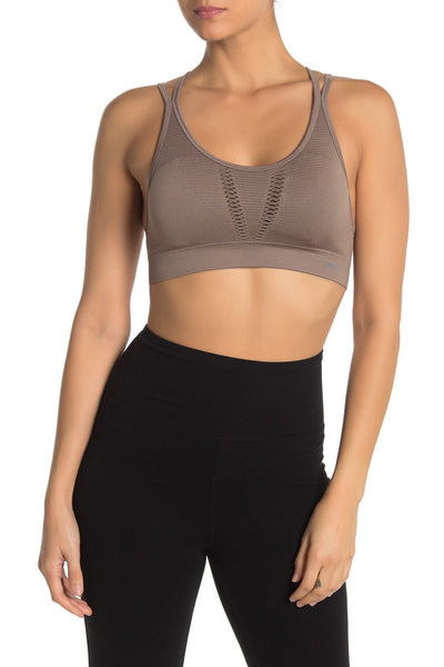 Marika Women's Racer-back Removable Cup Pads Sports Bra - Size Small - Cinder