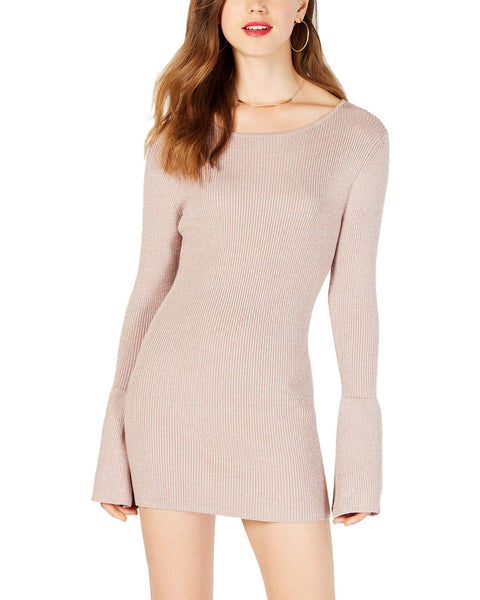 Material Girl Juniors' Shine Bell Sleeved Sweater Dress