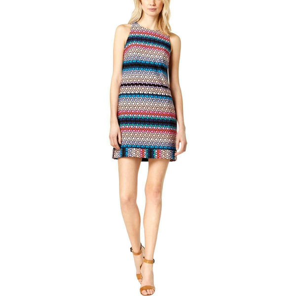 Trina Turk Womens Cut-Out Sleeveless Party Shift Dress, Multi-color, Size 4