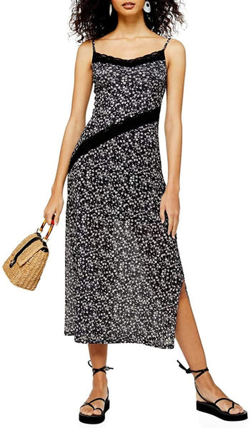 Women's Topshop Floral Lace Sleeveless Dress, Size 4 - Black