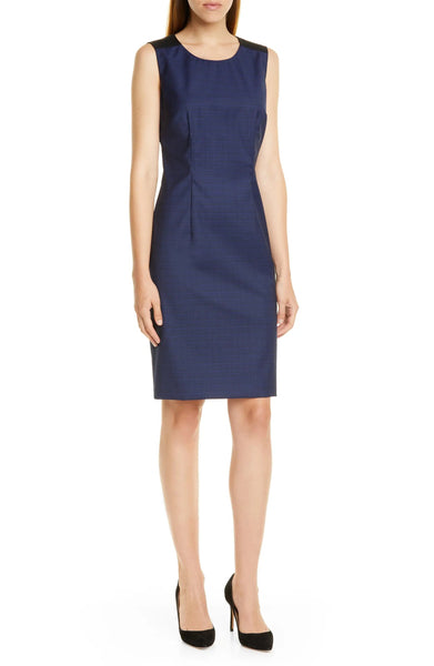 BOSS Women's Dristie Wool Sheath Dress, Size 6 - Blue