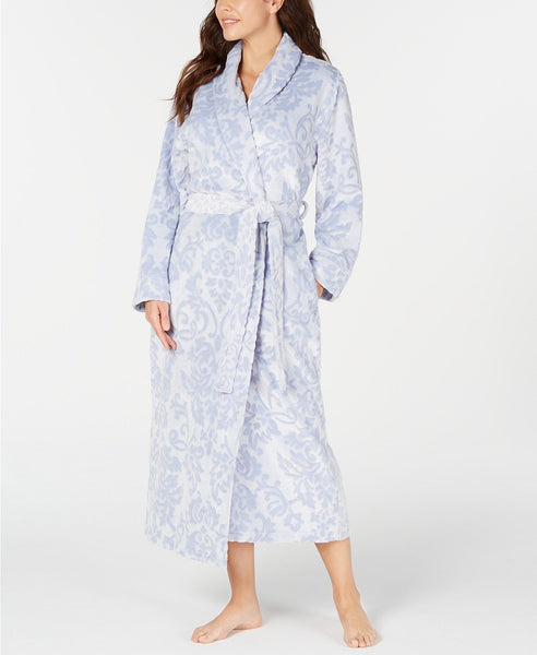 Charter Club Women's Scroll Plush Long Robe - Size XS/S - Blue Frosted