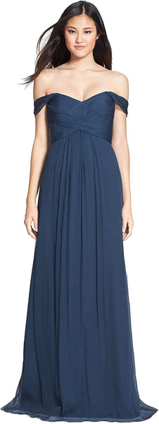 Amsale Women's Convertible Crinkled Silk Chiffon Gown - Size 12, French Blue