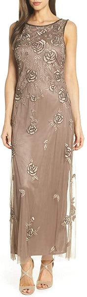 Pisarro Nights Women's Rose Embroidered Long Dress, Size 18 - Beige
