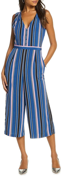 1901 Stripe Crop Jumpsuit Medium Blue