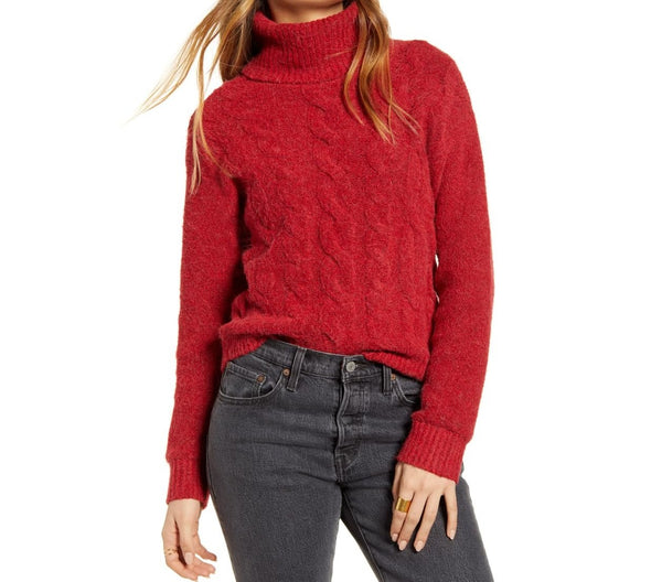 BP. Women Cable Stitch Turtleneck Sweater | Size - XXS | Color - Red
