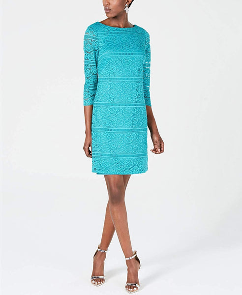 Jessica Howard Womens Lace Above Knee Sheath Dress Teal 16