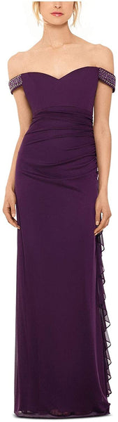 Betsy & Adam Women's Purple Ruched Off Shoulder Maxi Sheath Evening Dress Size 6