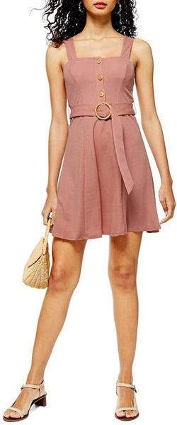 Women's Topshop Sleeveless Button Front Belted Minidress, Size 8 - Pink