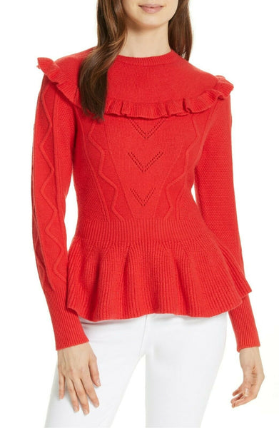 Women's Ted Baker London Elsahi Yoke Detail Peplum Sweater, Size 5 - Burgundy
