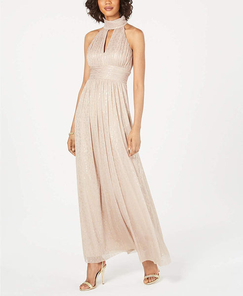 Jessica Howard Metallic Leopard-Print Halter Gown, Taupe, 8 M