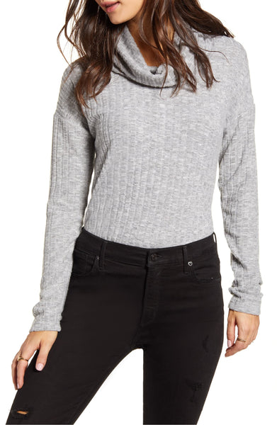 Bp. Women's Cozy Ribbed Turtleneck Top - Size XX-Small | Grey