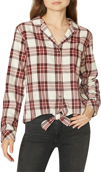 Sanctuary Women's Notched Collar Cotton Plaid Top - Size Small - Red
