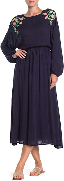 MOON RIVER Embroidered Blouson Sleeve Maxi Dress Navy Small