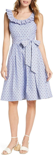 1901 Women Stripe Pleat Collar Clip-Dot Fit & Flare Dress, Size 4 - Blue