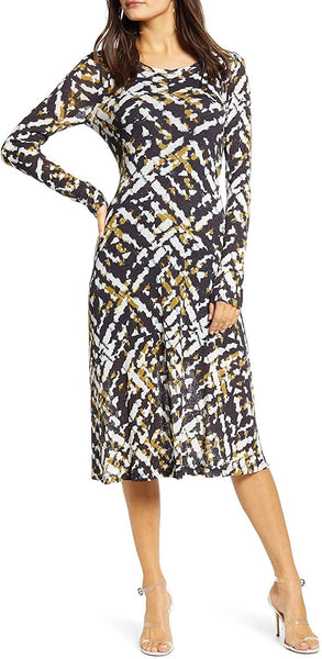 Row A Women's Second Skin Midi Dress - Size X-Small - Ivory Multi