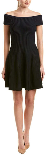 French Connection Womens Olivia Crepe Off-The-Shoulder Cocktail Dress, Black - 0