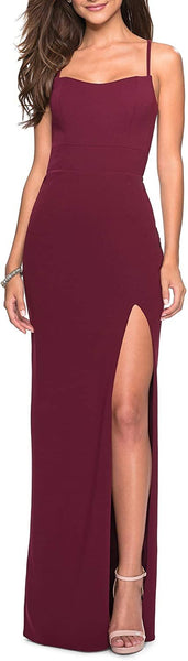 La Femme Women's Sweetheart Neck Jersey Evening Dress - Size 4, Burgundy