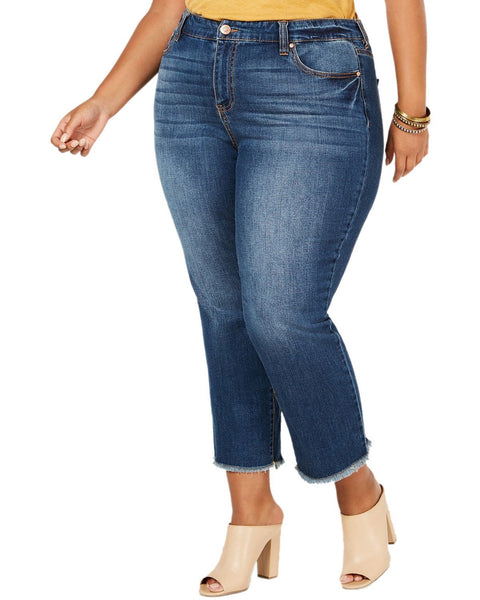 Celebrity Pink Trendy Plus Size Raw Hem Skinny Jeans