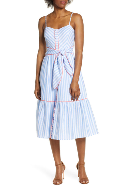 Eliza J Women's Stripe Piped Cotton Sundress, Size 14 - Blue