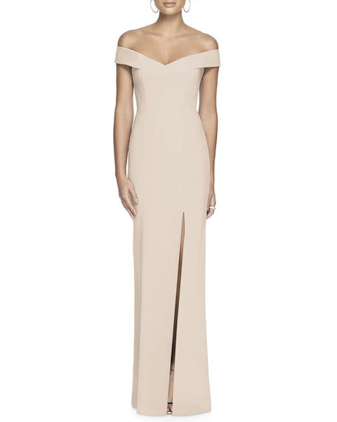 Women's Dessy Collection Off The Shoulder Crossback Gown, Size 4 - Cameo