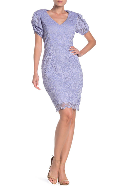Marina Women Short Puff Sleeve Lace Dress, Size 14, Purple