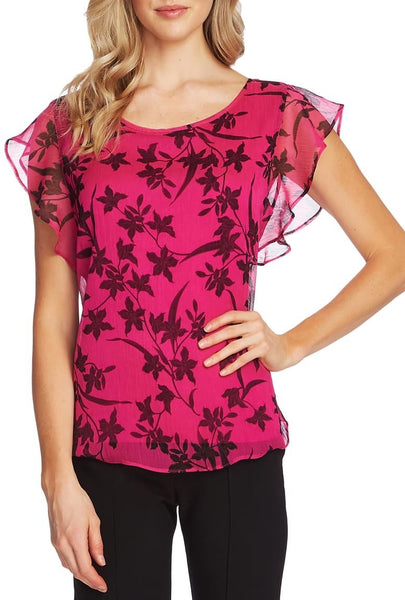 Vince Camuto Women Scoop neck Iris Floral Print Top | Size - Small | Pink